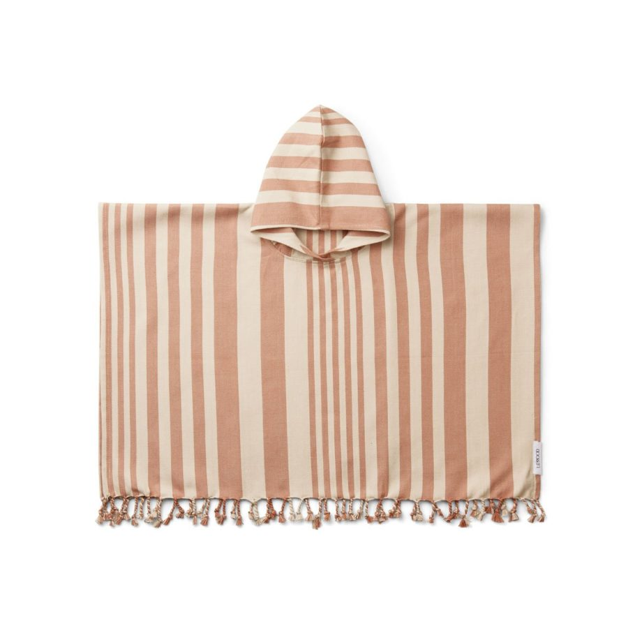 LIEWOOD Poncho de plage rayé rose et blanc en coton bio