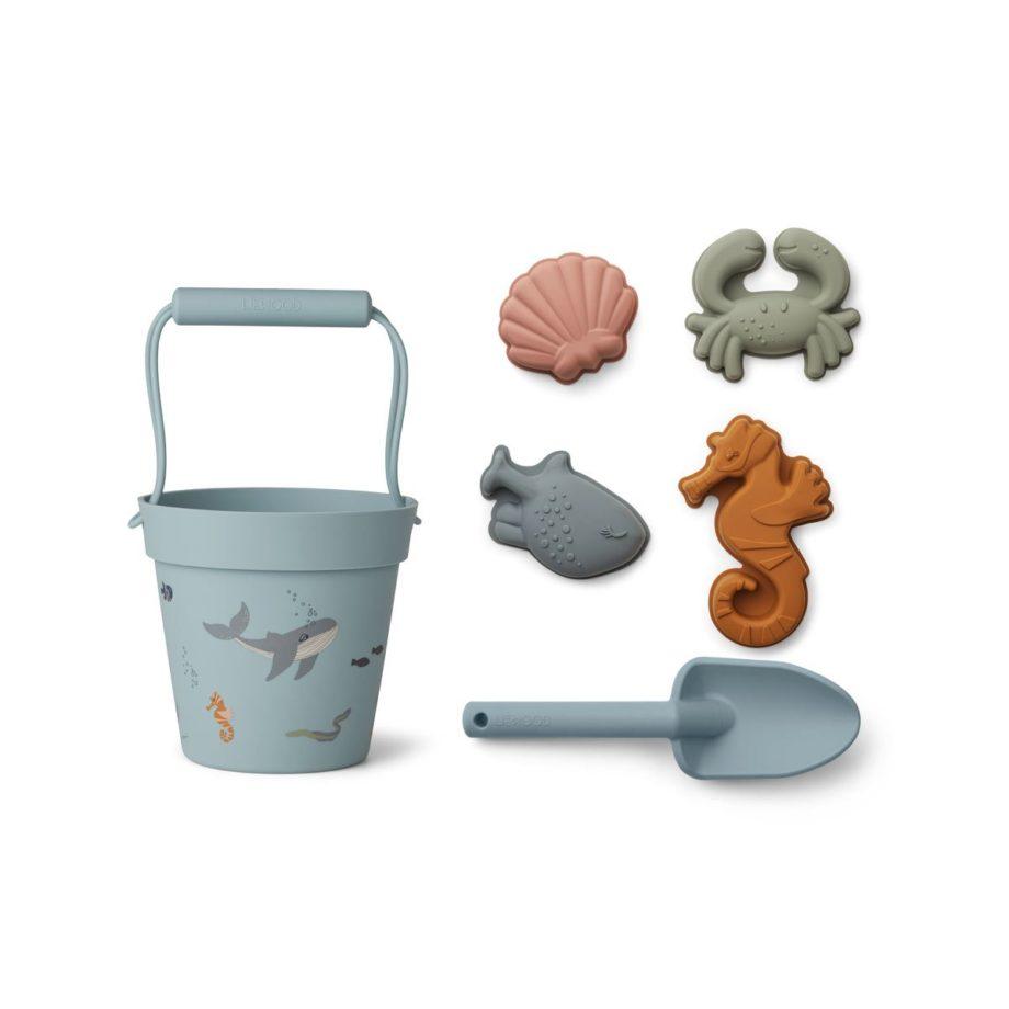 LIEWOOD Set de jeux de plage Sea Créature mix en silicone flexible
