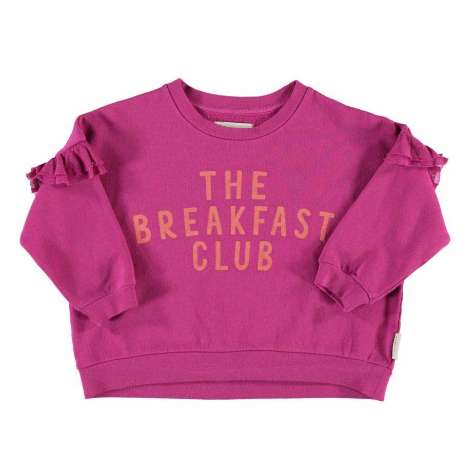 Sweat rose fucsia à volants The Breakfast Club en coton bio de Piupiuchick